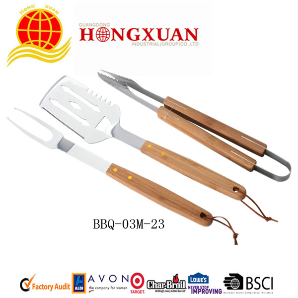 (BBQ-3M-23) 3PCS WOODEN HANDLE  BBQ TOOLS
