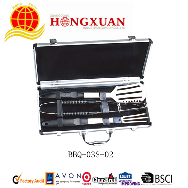 (BBQ-03S-02) 3PCS PLASTIC HANDLE BBQ TOOLS