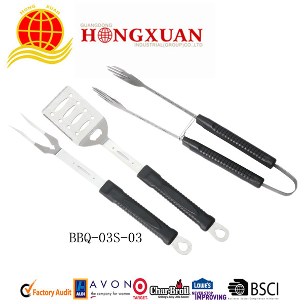 (BBQ-03S-03)3PCS PLASTIC HANDLE BBQ TOOLS