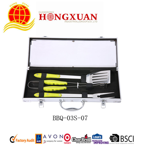 (BBQ-03S-07) 3PCS PLASTIC HANDLE BBQ TOOLS
