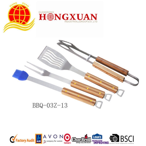 (BBQ-03Z-13) 4PCS WOODEN HANDLE BBQ TOOLS